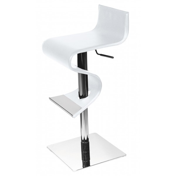 tabouret de bar design cuir blanc. Black Bedroom Furniture Sets. Home Design Ideas